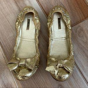 Miu Miu gold bow studded ballet flats sz 37